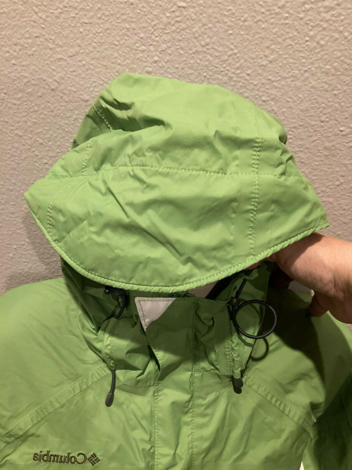 Women's COLUMBIA Green/White Hood Windbreaker Rain Jacket