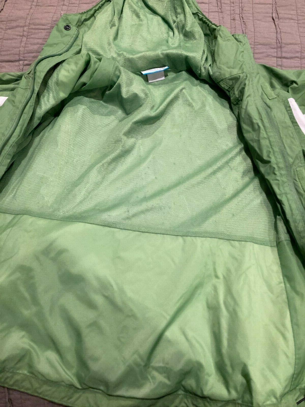Women's COLUMBIA Green/White Hood Waterproof Rain Jacket L