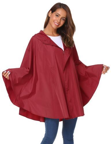 SoTeer Women's Pink Raincoat Waterproof Packable Rain Jacket