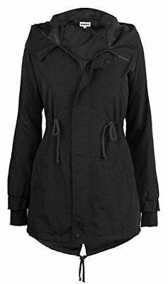 iLoveSIA Women's Trench Rain Jacket, Light Windproof w/Hood