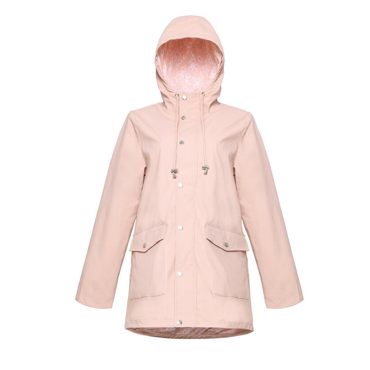 Women's Casual Rain Jacket Windbreaker Raincoat Parka