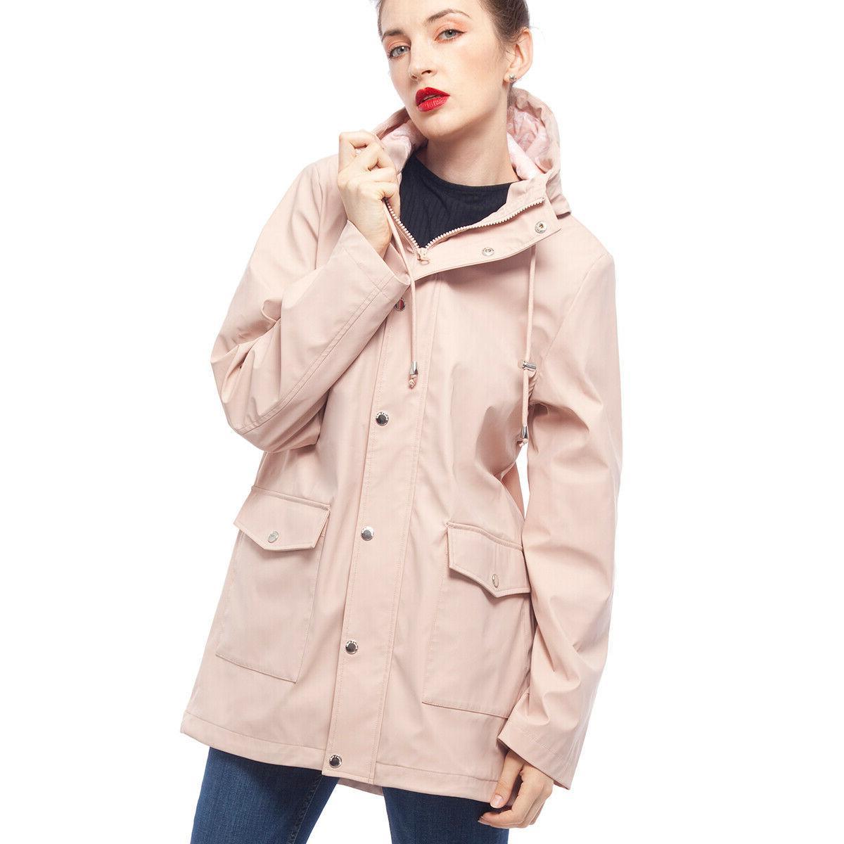 women s waterproof casual hooded rain jacket