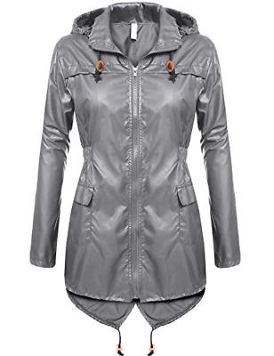 Beyove Women's Waterproof Packable Rain Jacket Zipper Up Hoo