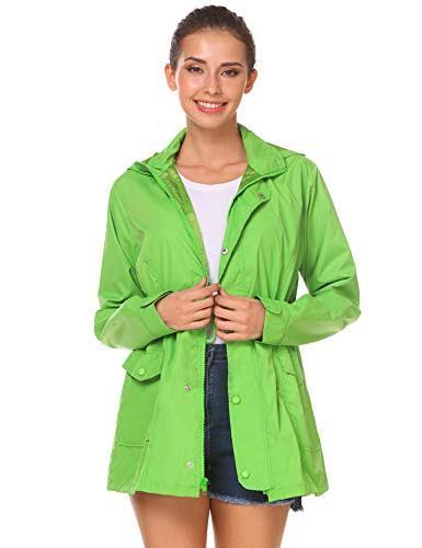 Beyove Women's Waterproof Zip Up Hooded Windbreaker Outdoor Hiking Rain Jacket