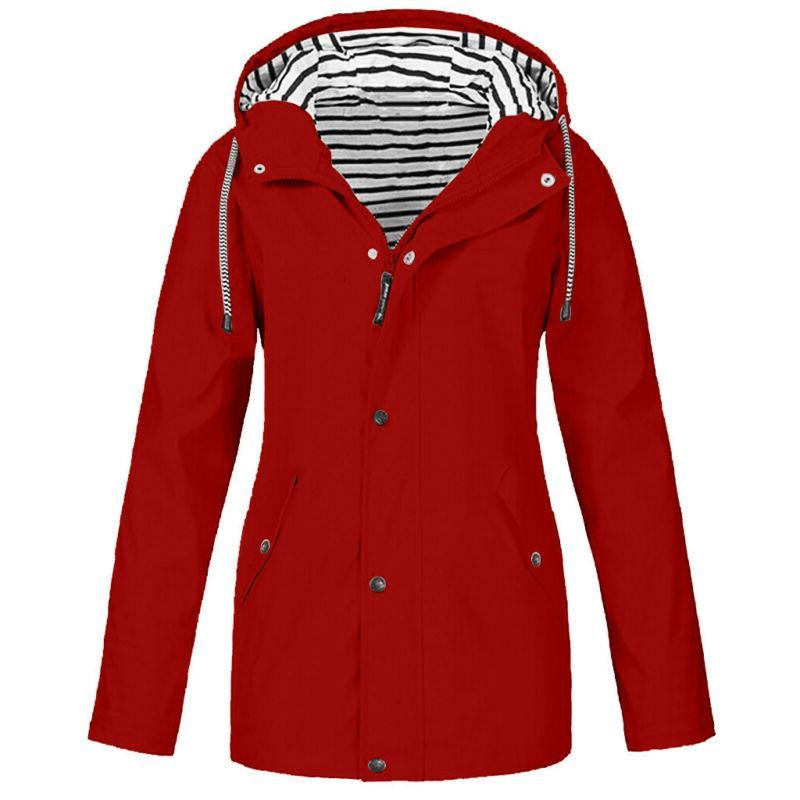 Women Solid Rain Outdoor Size Hooded Windproof