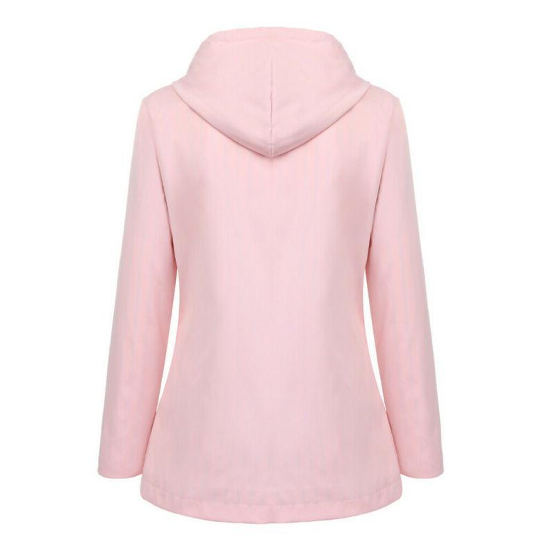 Women Solid Rain Outdoor Plus Size Hooded Raincoat Windproof