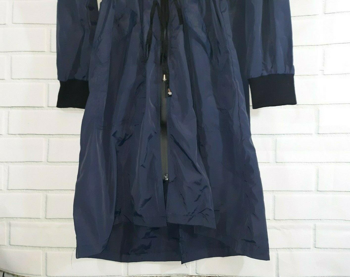 Navy Rain Hooded Drawstring