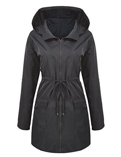 womens lightweight hooded waterproof long windbreaker active