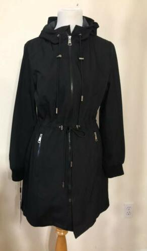 womens rain walker jacket hooded black size