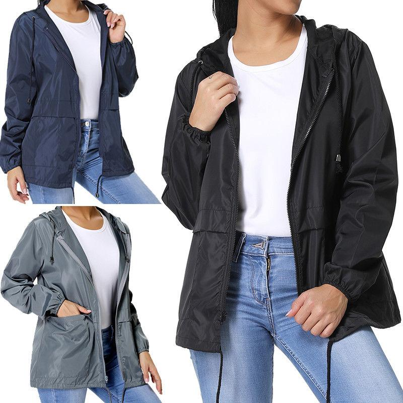 Womens Hooded Coat Windbreaker Parka