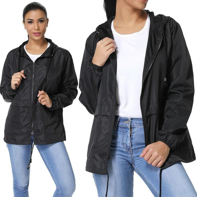 Womens Hooded Coat Windbreaker Parka Outwear M980