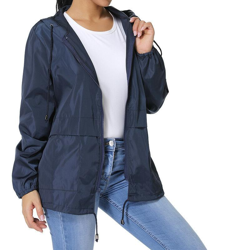 Womens Hooded Coat Rain Jacket