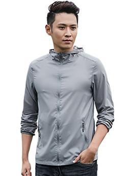 LANBAOSI Mens Lightweight Nylon Windbreaker Jackets UV Prote