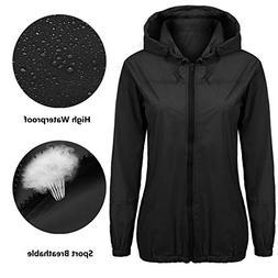 Lightweight Rain Jacket Women Waterproof Hood Outdoor Black