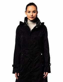 Calvin Klein Womens Long Packable Anorak, Black, X-Small