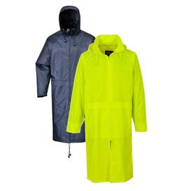 Portwest Long Rain Over Coat Zipped Jacket Poncho Hooded Wat