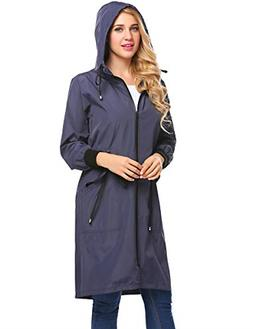 Zeagoo Long Raincoat Waterproof Lightweight Rain Jacket Wome