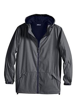 KingSize Men's Big & Tall Fleece-Lined Rain Coat, Steel Tall