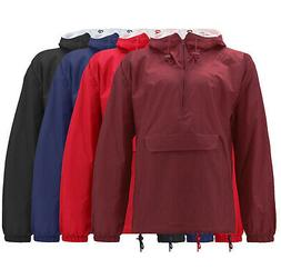 Men's Classic Rain Hooded Half Zip Jacket Pullover Water Res