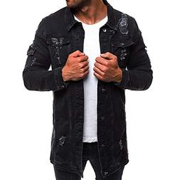 VEZAD Men's Denim Jacket Winter Casual Vintage Wash Distress