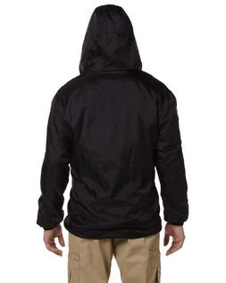 men s fleece lined hooded jacket black