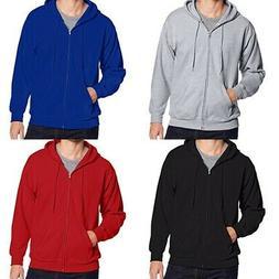Hanes Men's Full-Zip EcoSmart Fleece Hoodie Plain Comfrt Plu
