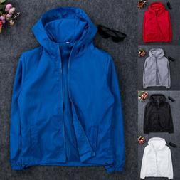 Men/'s Waterproof Jacket Hooded Outdoor Camping Windbreaker Outwear Rain Coat USA
