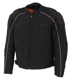 Men's Leather & Mesh Combo Racer Jacket w/ Removable Rain Ja