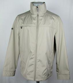 Calvin Klein Men's Water Resistant Beige Zip Up Rain Jacket