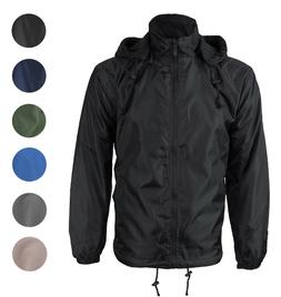 Men's Water Resistant Polar Fleece Lined Hooded Windbreaker