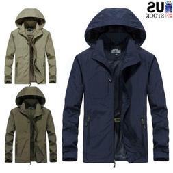 Men's Waterproof Hooded Windbreaker Jacket Breathable Outwea