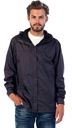 Gioberti Men's Waterproof Rain Jacket, Charcoal, L