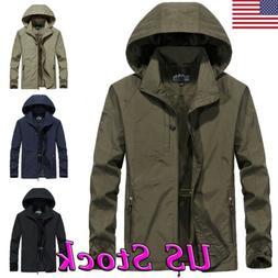 Men's Windproof Waterproof Jacket Outdoor Hiking Hooded Rain
