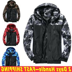 Men Waterproof Rain Jacket Hooded Sport Camouflage Coat Army