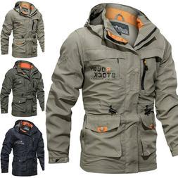 Men Windproof Jacket Hooded Full Zipped Rain Outdoor Camping