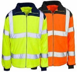 Mens Adult Hi Vis Viz Visibility Collar Zip Up Rain Coat Boy