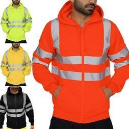 Mens Hi Viz High Visibility Bomber Sweatshirt Waterproof Rai