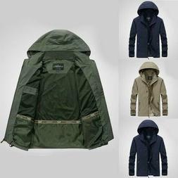 Mens Jacket Waterproof Hooded Outdoor Camping Windbreaker Ou