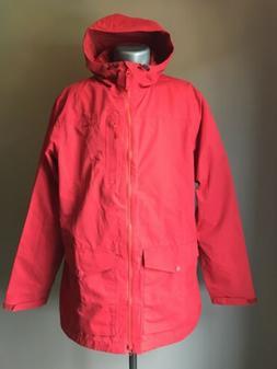 Mens L L Bean H2OFF DX Rain Jacket Coat Red XL Tall Repaired