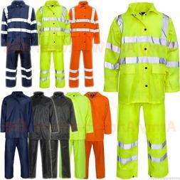 Mens Ladies Waterproof Rainsuit Rain Suit Set Jacket Trouser