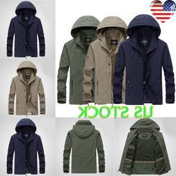 Mens Outdoor Sport Rain Coat Jacket Full Zip Casual Outerwea