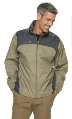 Mens Columbia Packable Rain Wind Jacket Medium Grey Beige -