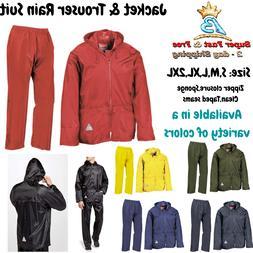 Mens Rain Coat Heavy Weight Waterproof Rain Suit Zip Hoodie