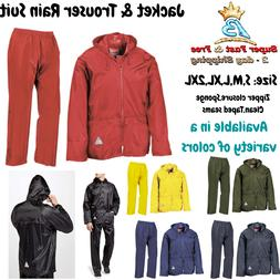 Mens Rain Coat Heavy Weight Suit Zip Waterproof Hoodie Jacke