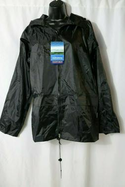 Mens US440 Regular Fit Classic Rain Jacket, Medium, Black, B