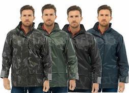 Mens Waterproof Rain Jacket Coat Country Hi-Vis Pack-away St