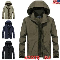 Mens Windproof Waterproof Jacket Outdoor Hiking Hooded Rain