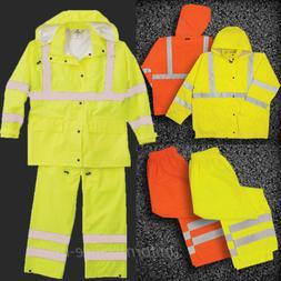 ML Kishigo Rain Suit Class 3 Waterproof Safety Lime Orange H