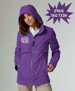 monogrammed charles river rain jacket new england
