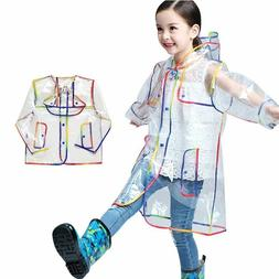 Multi Colors Transparent Hooded Kids Rain Coats Children Lon